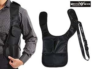 左肩用 ホルスター型ボディバッグ 大量ポケット シークレットショルダー 多機能 長さ調節 ベルト 体にフィットするジャケット [MASTER MIND PRODUCTION] オリジナル布バック付属 MMP016