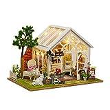 GutMai DIY木製ドールハウス、ねこと花の午後、手作りキットセット、ミニ家具工芸品キット、ミニチュアコレクション、付属LEDライト (ねこ花屋)