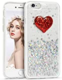 iPhone6s Plus ケース Imikoko iPhone6 Plus ケース キラキラ TPU 耐衝撃 薄型 おしゃれ 人気 かわいい アイフォン6プラスケース (iPhone6/6s Plus 5.5, ハート(赤))