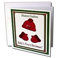 ビバリーターナークリスマスデザイン–レッドキャップとミトンBabys最初クリスマスGodson Train–グリーティングカード Individual Greeting Card