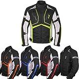 Motorcycle Jacket For Men Textile Motorbike Dualsport Enduro Motocross Racing Biker Riding CE Armored Waterproof All-Weather Large Hi-vis Green
