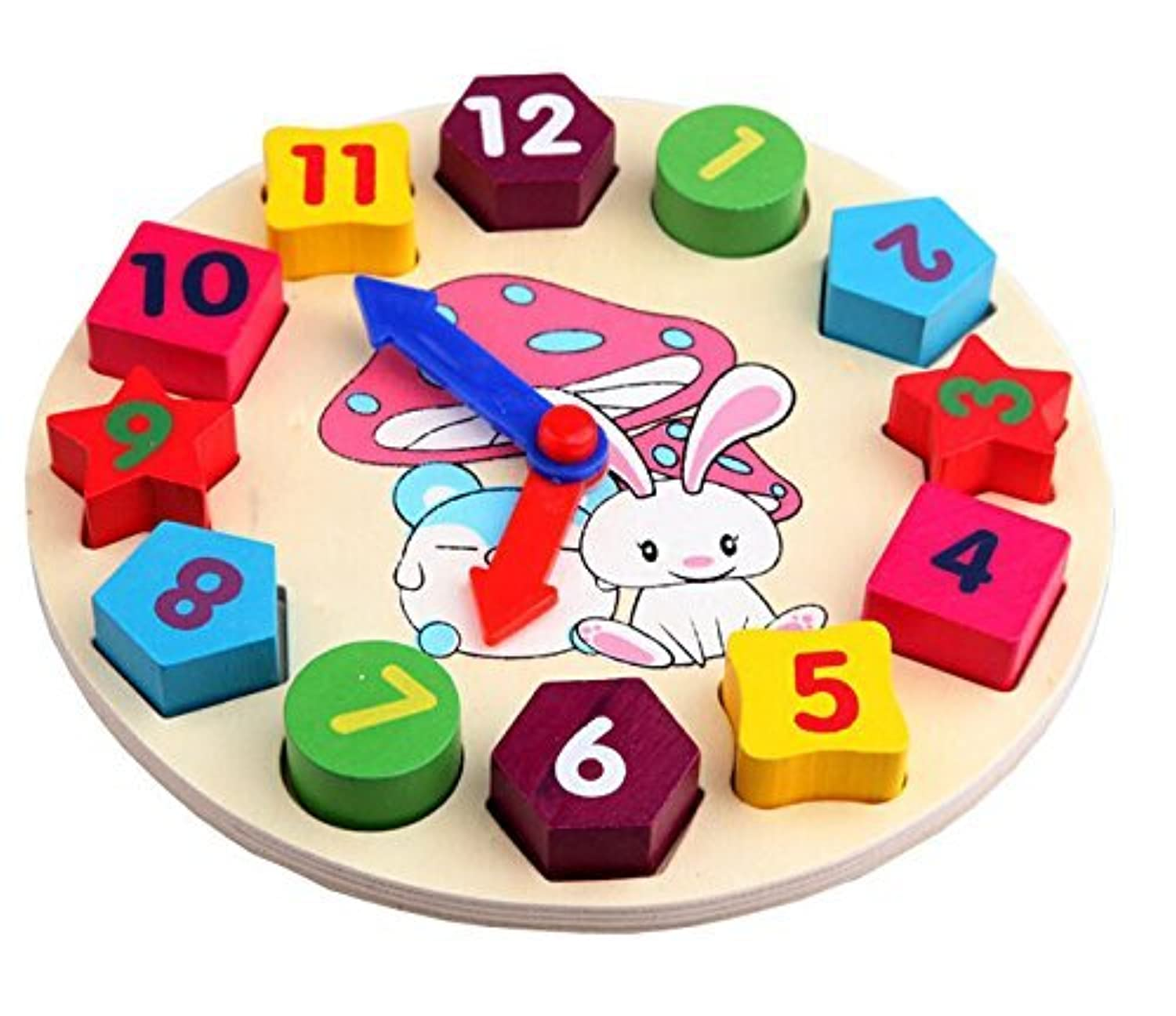 MAGIKON Cartoon Rabbit Number And Shape Matching Clock Toy,Teaching Clock Puzzle Toy for Children