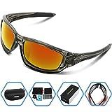 Torege 偏光レンズ スポーツサングラス 超軽量 TR90 UV400 紫外線カット スポーツサングラス/ 自転車/釣り/野球/テニス/スキー/ランニング/ゴルフ/ドライブ TRG011 (透明グレー&レッド レンズ)