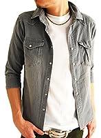 (アーケード) ARCADE 4color メンズ ストレッチ ウエスタン 春 長袖 7分袖 デニムシャツ 長袖シャツ 7分袖シャツ