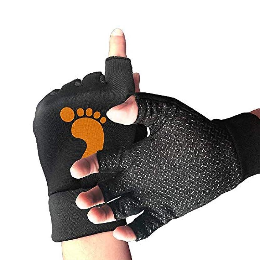 受粉する個性夜サイクリンググローブオレンジフットプリントメンズ/レディースマウンテンバイク用グローブハーフフィンガースリップ防止オートバイ用グローブ