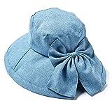 サンハーティネス香産 デニム調 女優帽 ライトブルー レディースフリー UVカット まとめ髪のまま被れる DUV-02
