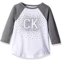 Calvin Klein Big Girls' Logo Tee, Color Block