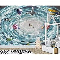 Weaeo 3D空間スカイ飛行機の火球3Dの漫画の壁紙の赤ちゃんのための壁紙3Dの壁の壁画壁紙の壁の装飾-150X120Cm