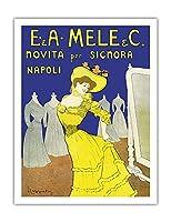 EmiddioとAlfred Meleの服装会社 - 女性、ナポリのためのイノベーション - ビンテージな広告ポスター によって作成された リオネト・カピエロ c.1902 - アートポスター - 51cm x 66cm