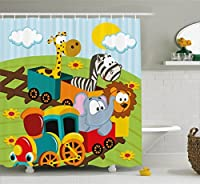 Ambesonne Kids Decor Shower Curtain, Cartoon Baby Safari Wild Animals In a Trainwith Striped Backdrop Art Print, Fabric Bathroom Decor Set with Hooks, 84 Inches Extra Long, Multicolor [並行輸入品]