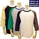 (ワラワラスポーツ)WALLA WALLA SPORT 3/4 BB TEE PANELED7部袖 ベースボールTee パネルド クレイジー S BLACK