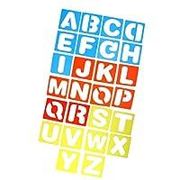 Perfk カラフル 子供用 DIYクラフト 早期教育 ステンシル 手紙テンプレート A-Z英語/0-9数字 全2セット選べ  - A-Z アルファベットセット, 10x10cm