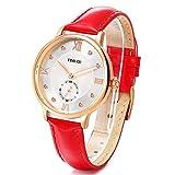 Time100 ローマ数字文字盤 ラインストーン付 本革バンド ファッション レディース腕時計 W80099L (レッド)