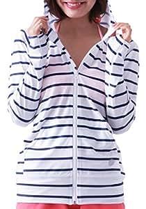 ICEPARDAL(アイスパーダル) 全20色柄 レディース ラッシュガード パーカー IR-7200 BDS-NVY WMサイズ 長袖 ラッシュパーカー UVカット UPF50 + 指穴つき おしゃれ かわいい 人気 水着 ボーダー柄 ネイビー 白 色