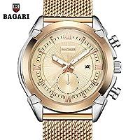 SJXIN 美しい時計 BAGARI/新ファッションクォーツウォッチメンズスチールストラップウォッチ (Color : 8)