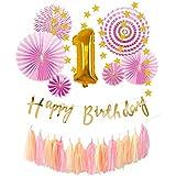 しあわせ倉庫 誕生日 飾り付け バースデー セット スター ガーランド 数字 バルーン 装飾 デコレーション 男の子 女の子 (ピンクセット 1歳)