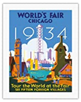 世界フェアシカゴ1934 - フェアで世界を見学 - ビンテージな世界旅行のポスター によって作成された ワイマー・パーセル c.1934 - キャンバスアート - 51cm x 66cm キャンバスアート(ロール)