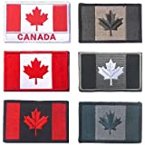Canada Flag Tactical Patch, TOWEE 6 Pack Canadan Flag Patches Tactical Tags Patch Military Patch Embroidered Border Canada Mi