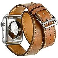 Apple Watch Band Wollpo® 本革 交換バンド 高級 レザー ビジネス用 腕時計ベルト Real Leather Watchband for Apple WatchApple Watch 本革 交換バンド 高級 レザー ビジネス用 腕時計ベルト Real Leather Watchband for Apple Watch (42mm, 褐色 延長型)