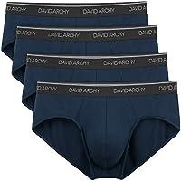 David Archy Men's 4 Pack Bamboo Rayon Soft Lightweight Pouch Briefs