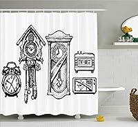 クロック装飾シャワーカーテンby Ambesonne、ヴィンテージ時計で設定インクHand Drawnスタイルレトロ装飾図、ファブリックバスルームDecorセットwithフック、84インチExtra Long、ブラックとホワイト