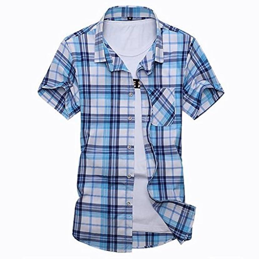 亡命開業医会計夏服 メンズ 大きいサイズ チェックシャツ 半袖 夏 開襟 折襟 薄手 おしゃれ シンプル ゆったり カジュアル ストレッチ スリム 普段着 アウトドア クールビジ カジュアルシャツ ブルー イエロー M-7XL