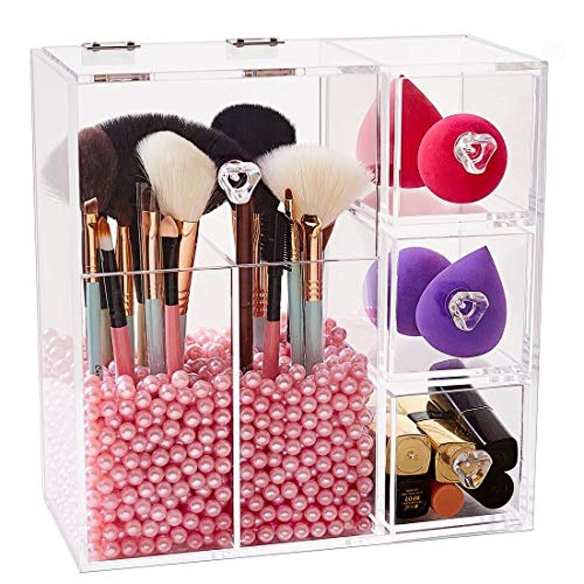 HBLIFE 化粧品収納ボックス 透明アクリル メイクケース コスメ 口紅 収納スタンド 引き出し小物/化粧品入れ レディース ジュエリーボックス 小物 収納 メイクボックス 女の子のギフト プレゼント最適