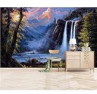 Lcymt 油絵ビニール壁紙立体滝風景壁紙寝室用大型テレビデスクトップの壁紙壁画-250X175Cm
