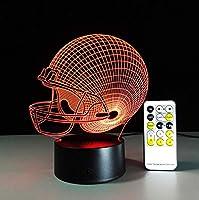 すべてのチームサッカーラグビー帽子リモコンランプカラフルなタッチラウンドビジュアルステレオ3dナイトライト用サッカーファンギフト、7色リモコン