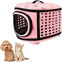 Pet Carrier, Legendog Dog Carrier Bag Eva Breathable Foldable Pet Travel Carrier for Cats Puppies with Strap (Pink)