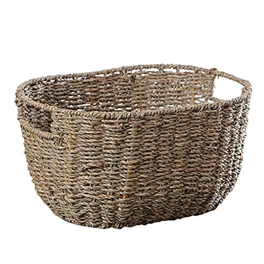 SMMRB 田舎の織物収納バスケット雑貨バスケット化粧品雑貨収納ボックス収納バスケット収納青、藁 (サイズ さいず : 33cm*24cm*7cm)