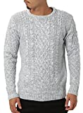 JIGGYS SHOP (ジギーズショップ) ニット セーター メンズ クルーネック ケーブル編み 厚手 長袖 防寒 ボーダー アメカジ S A ミックスライトグレー