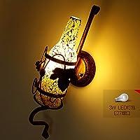 クリエイティブ壁ランプバーKTV壁ランプ工業ランプCafe通路コリドーStained Glassワインボトル壁ランプ イエロー 8974156391904