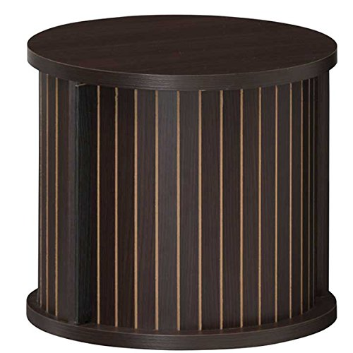 RoomClip商品情報 - 白井産業【SHIRAI】蛇腹扉の円筒型収納 整理棚 サイドテーブル チャモス ダークブラウン 幅約37cm 高さ約32cm CMO-3035JDK