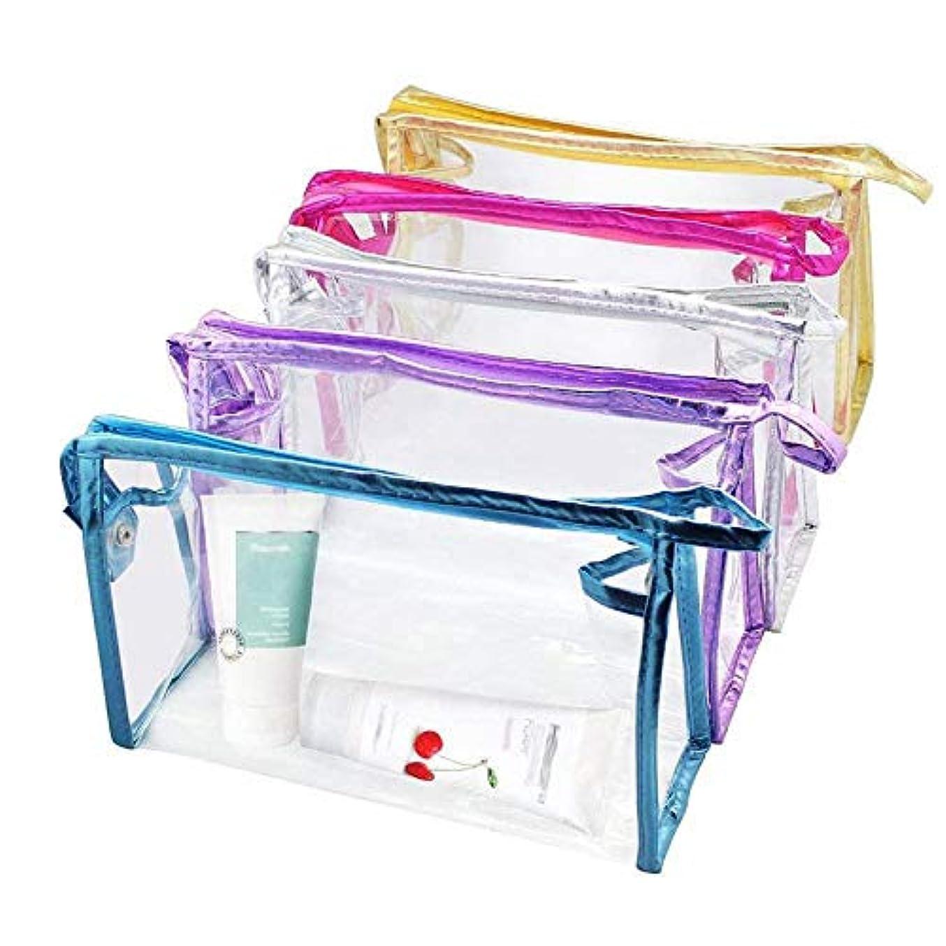 ACAMPTAR 5個透明防水化粧品バッグ、PVCビニールジッパーウォッシュバッグ休暇、バスルームと整理バッグ旅行セット