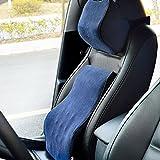 (ファーストクラス)FirstClass 車用 シートクッション&ヘッドレスト メモリーフォーム製 バックサポート ネックサポート 通気性に富む オフィス 旅行 ホーム 車シート 椅子 自動車用 フォーシーズン ディープブルー 2pc