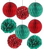 SUNBEAUTY 「8個セット」すぐ使える 赤+青緑 クリスマスパーティーの装飾 ハニカムボール ポンポンフラワー インテリア パーティーの飾り付け (赤+緑)