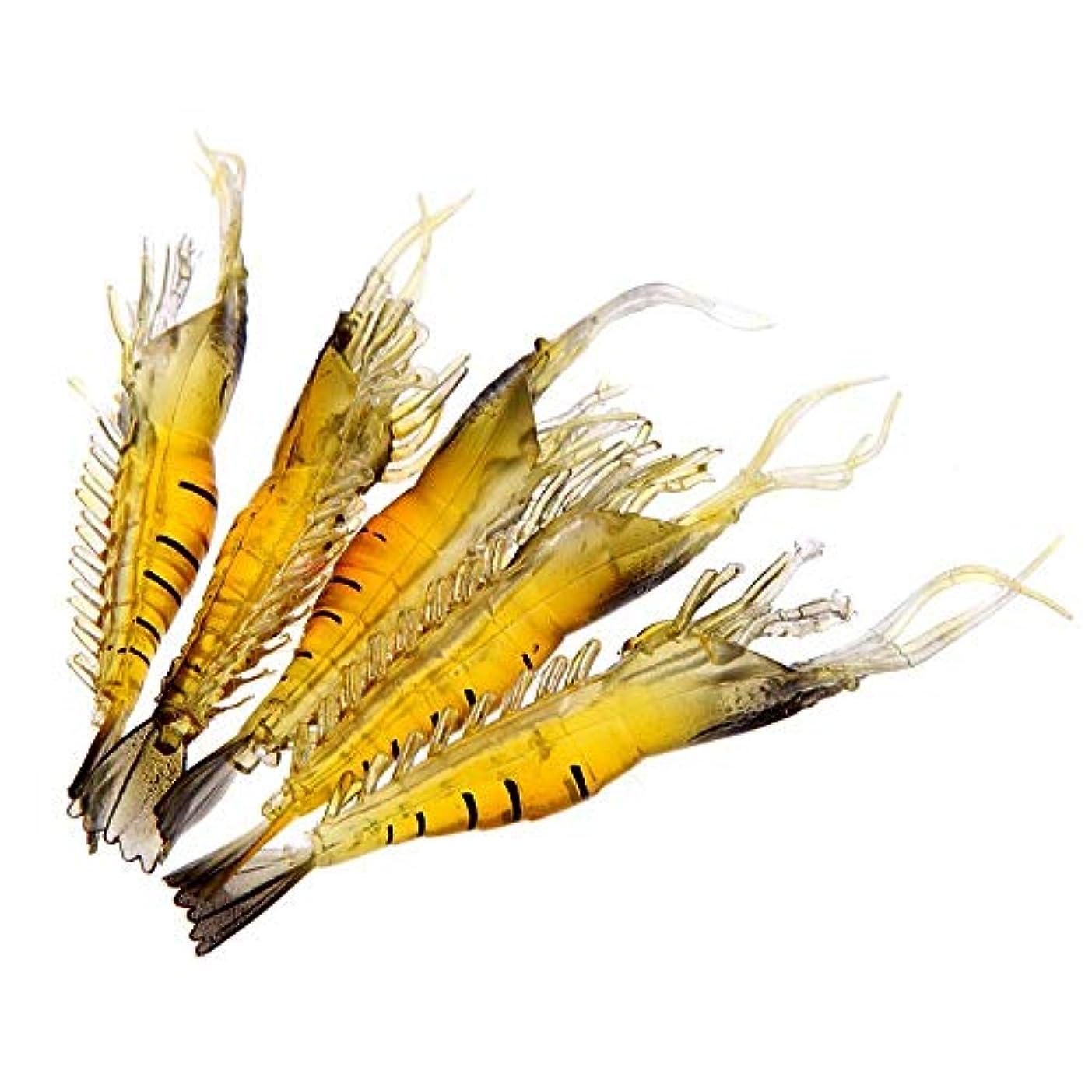 彫刻フローティング腐敗5個 9cm 4g アウトドアフィッシングルアーソフトシミュレーション 軽量エビ餌 魚臭い 黄色 丈夫 zhangs shop