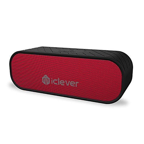 iClever ポータブルスピーカー Bluetooth 4.2 20w 防水 IPX5 ワイヤレス デュアル 12時間連続再生 マイク 18ヶ月保証 iPhone スマホ ブラック レッド IC-BTS05