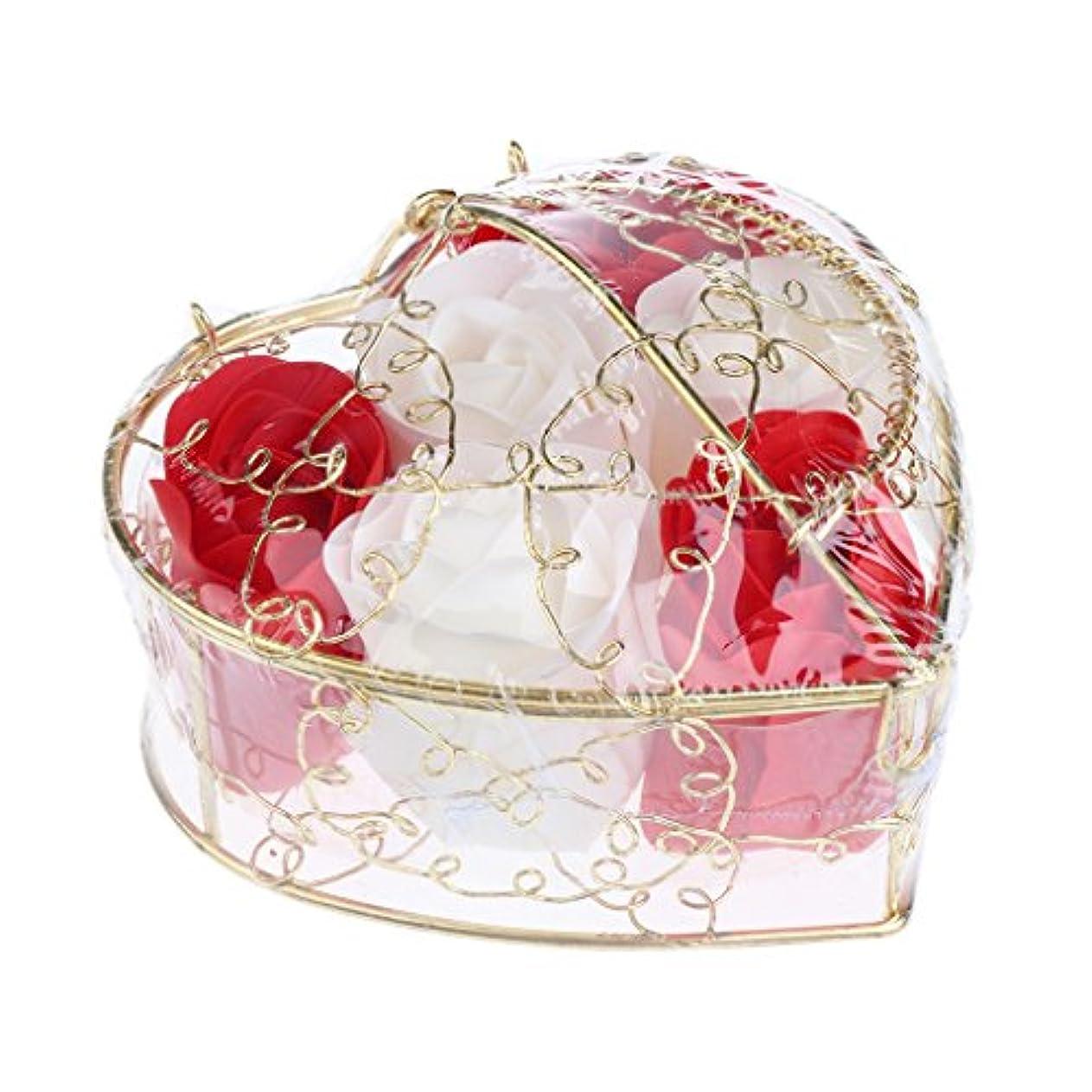 赤字立ち寄る目覚める6個 ソープフラワー 石鹸の花 バラ 心の形 ギフトボックス バレンタインデー ホワイトデー 母の日 結婚記念日 プレゼント 全5タイプ選べる - 赤と白