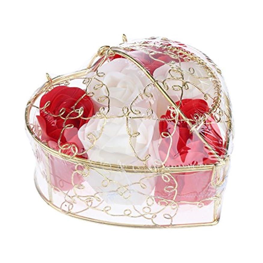 Fenteer 6個 ソープフラワー 石鹸の花 バラ 心の形 ギフトボックス  バレンタインデー  ホワイトデー  母の日 結婚記念日 プレゼント 全5タイプ選べる - 赤と白