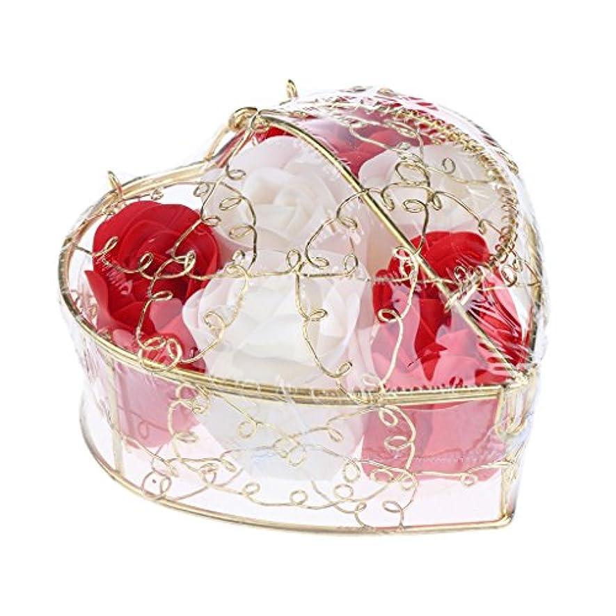 くびれた礼儀大工6個 ソープフラワー 石鹸の花 バラ 心の形 ギフトボックス バレンタインデー ホワイトデー 母の日 結婚記念日 プレゼント 全5タイプ選べる - 赤と白