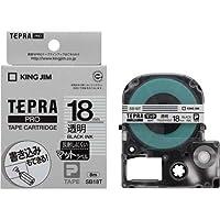 キングジム テプラPROテープ 透明つや消し18mm黒文字×5
