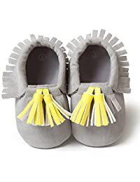 Nice Days(ナイス ディズ) ベビーファーストシューズ 可愛い靴 プレゼント お出かけ 出産お祝い (11, グレー+イエロー)