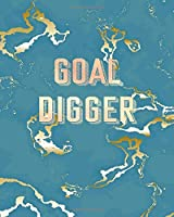 Goal Digger: Inspirational Quote Notebook, Trendy Blue Marble and Rose Gold | 8 x 10, 120 Wide Ruled Pages