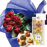 花とスイーツ ギフトセット エレガント レッドバラ 花束 と 名入れ フルーツ・クグロフA 写真入り・名入れメッセージカード