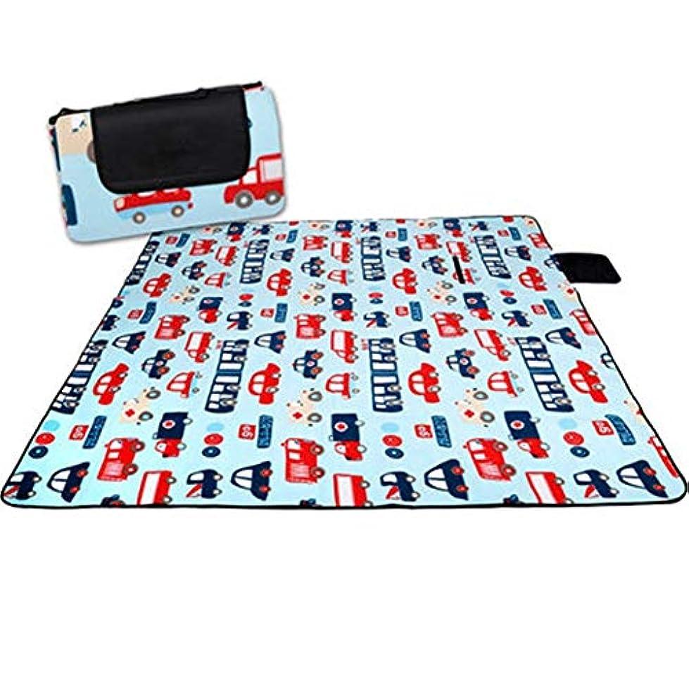 準備した該当する消費折りたたみピクニック毛布、屋外用防水バッキングトラベルピクニックラグ/ビーチ/ハンドル付きキャンプ - ブルー - 200X200cm