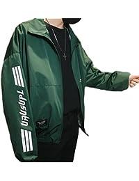 Fly Year-JP 男性のファッション?ルーズフィットの手紙を印刷するジッパーロングスリーブサイズ薄ジャケットについて