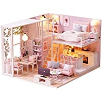 CUTEBEE Dollhouse Miniature with Furniture, DIY DollHouse Kit Plus Dust Proof and Music Movement, 1:24 Scale Creative Room for Idea(Tranquil Life)