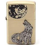 孤狼 の ライター オイルライター 孤狼 血 Wolf ウルフ オオカミ 狼 月 moon